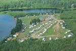 Arial photo of Kab Lake Lodge's campground located on Hwy 527.